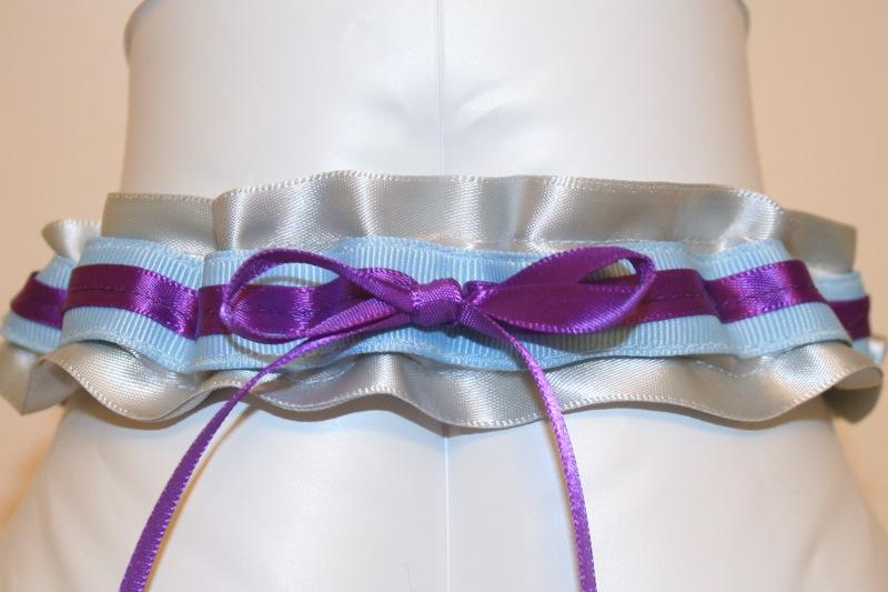Custom Wedding Garter With Silver And Purple