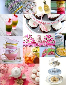 modern tea party inspiration board