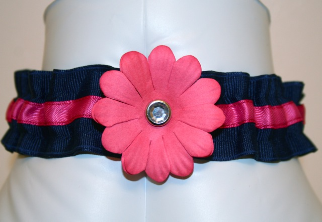 navy with flower detail custom wedding garter