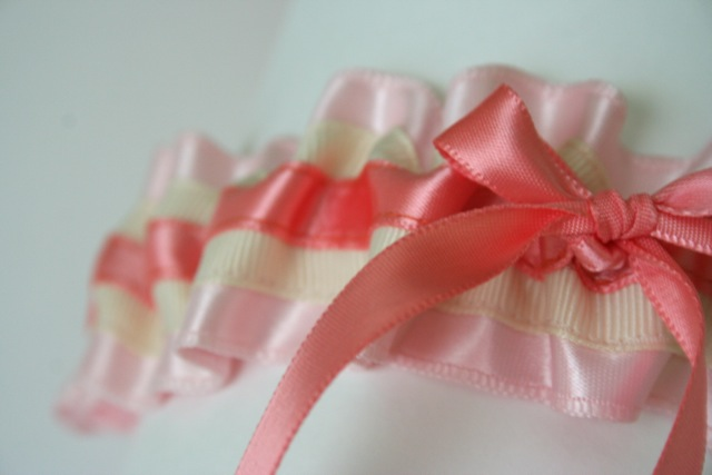 pink satin garter for martha stewart brooklyn pop up wedding chapel
