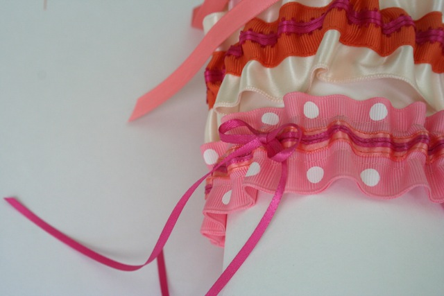 pink polka dot wedding garter for martha stewart brooklyn pop up wedding chapel