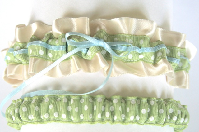 custom designed polka dot wedding garter it is basically style 318