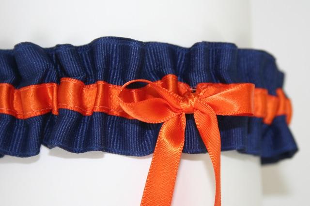 Custom Garter Spotlight Orange Accents Wedding Garters