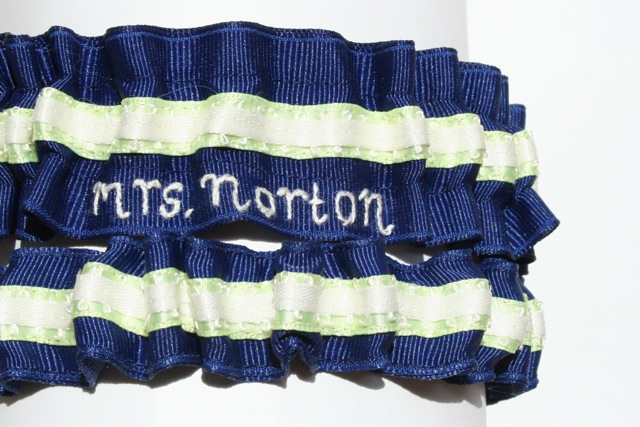 navy blue and lime green embroidered wedding garter set