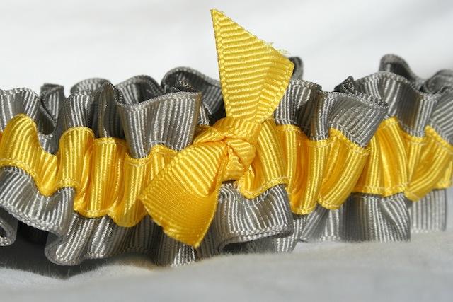 gray and yellow ecofriendly wedding garters juliane smith style 402