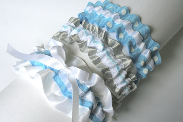 silver white and blue wedding garters julianne smith