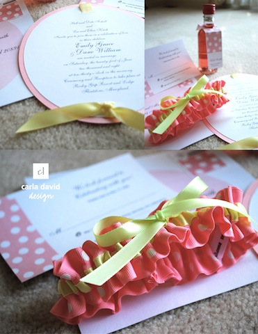 carla david and julianne smith invitations and wedding garters pink and