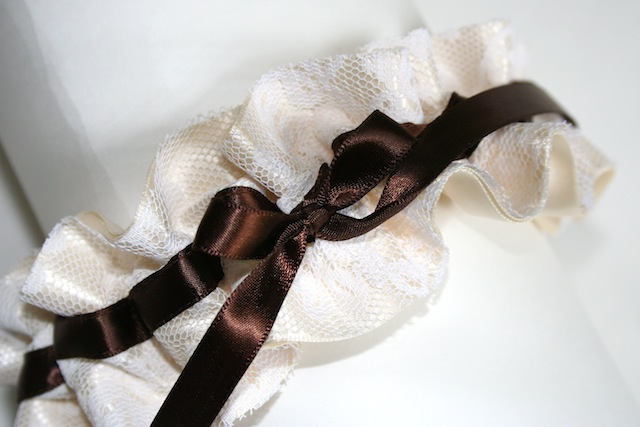 ivory and brown lace wedding garter - julianne smith - view 1