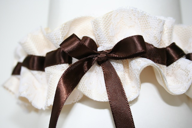 ivory and brown lace wedding garter - julianne smith - view 2