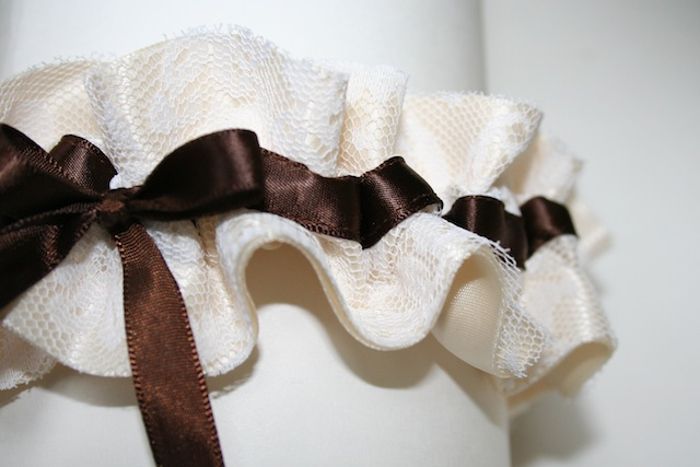 ivory lace and chocolate brown satin wedding garter - julianne smith