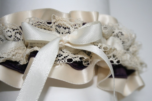 ivory lace and deep purple stylish wedding garter - juliane smith