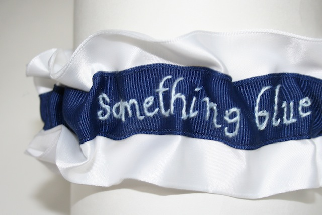 The next something blue wedding garter is royal blue grosgrain with a royal
