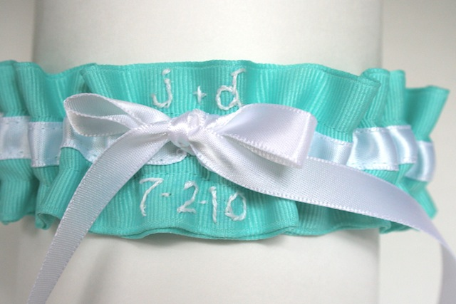 The last something blue wedding garter is Tiffany blue grosgrain with a