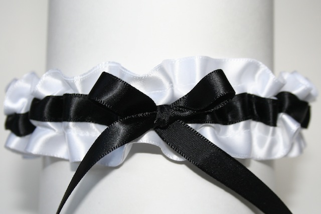 White Black Wedding Garter