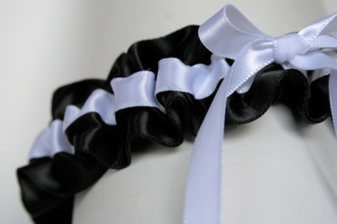 black and white satin with bow stylish wedding garter julianne smith