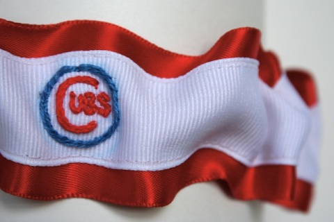 hand embroidered chicago cubs red and white wedding garter by julianne smith