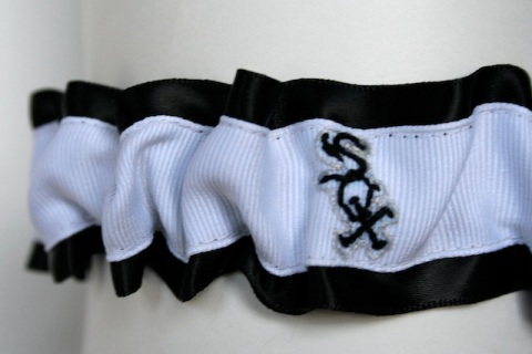 hand embroidered chicago white sox black and white wedding garter by julianne smith