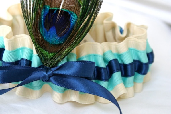 Wedding garter - Peacock Ivory Aqua Blue - The Garter Girl by Julianne Smith